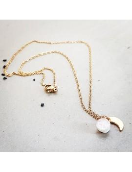 Collier Blanc Diamant et rose en verre et acier inoxydable Or