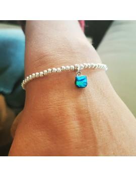 Bracelet Perles Argent Bleu Essence artisanal en verre