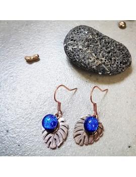 Boucles d'oreilles Bleu Roi en verre et acier inoxydable rose