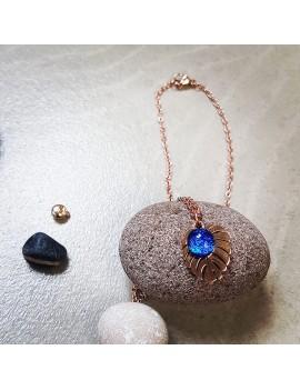 Collier Bleu Roi en verre et acier inoxydable rose