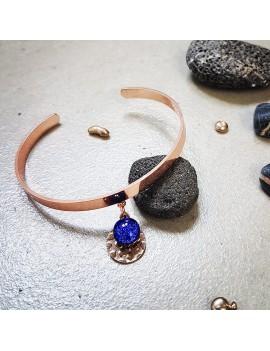 Bracelet Bleu Roi en verre et acier inoxydable rose