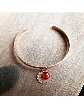 Bracelet Rouge Rubis en verre et acier inoxydable rose