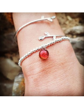 Bracelet Perles Argent Rouge artisanal en verre
