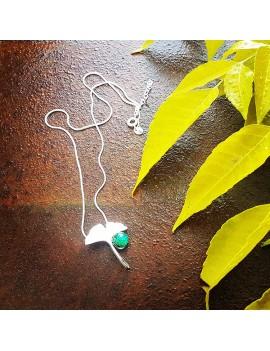 Collier Ginkgo Vert Véronèse artisanal en verre