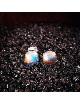 Puces d'oreilles Bleu Orange artisanales en verre