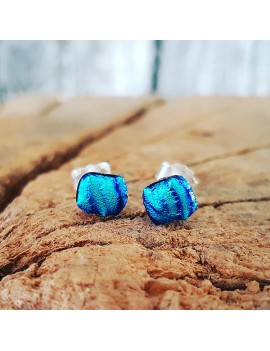 Puces d'oreilles Pierre Bleu artisanales en verre