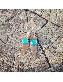 Boucles d'oreilles Plumes Vert Véronèse en verre et acier inoxydable rose