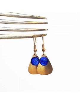 Boucles d'oreilles Plaque Or Bleu Roi