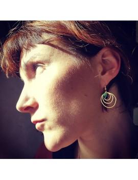 Boucles d'oreilles Plaque Or Pétale vert