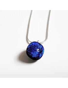 Collier Lighty Bleu Roi artisanal en verre dichroïque