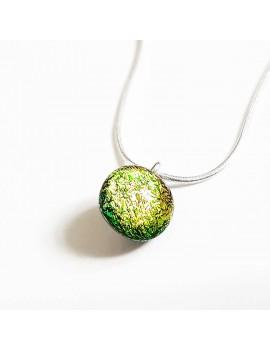 Collier Lighty Jaune artisanal en verre dichroïque