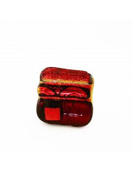 Bague Mil'Shake Rouge artisanale en verre dichroïque