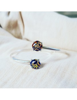 Bracelet Jonc Florale Jaune artisanal en verre