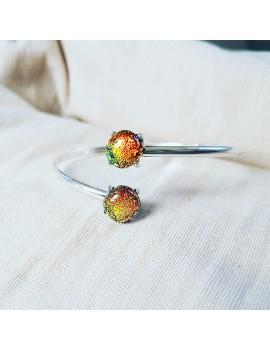 Bracelet Jonc Orange artisanal en verre