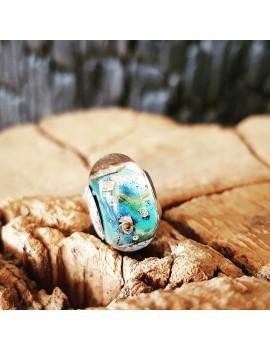 Charm Bleu Clair artisanal en verre de Murano