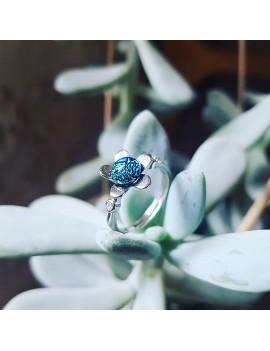 Bague Fleur Turquoise cristallisé en Argent 925