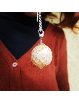 Pendentif Rose Orange en écailles artisanal en verre de Murano