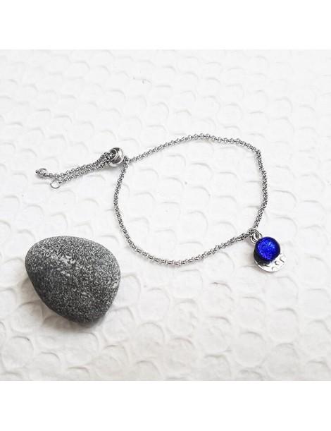 Bracelet Bleu Roi en verre et acier inoxydable