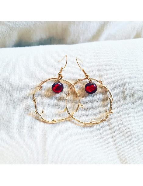 Boucles d'oreilles Rouge Rubis en Or
