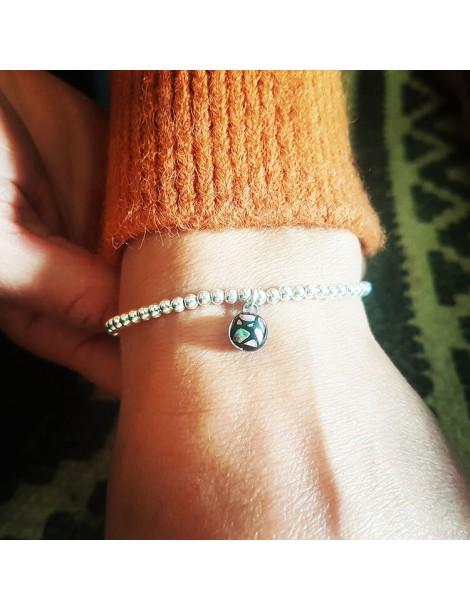 Bracelet Perles Plume artisanal en verre