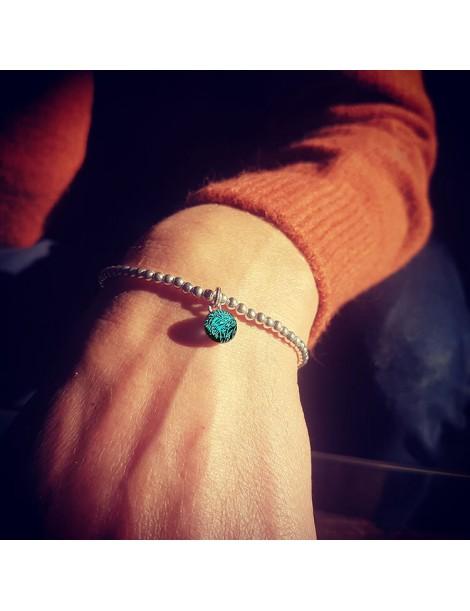 Bracelet Perles Turquoise cristallisé artisanal en verre