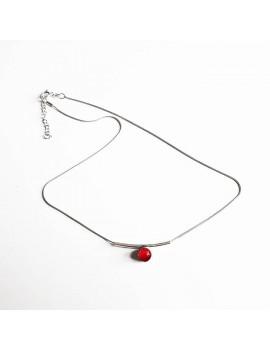 Collier Zen 'Rouge Rubis' artisanal en verre