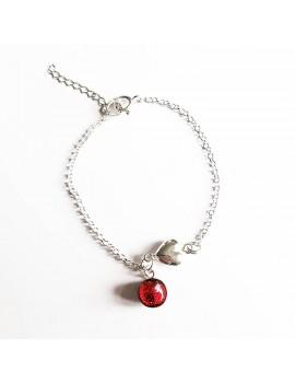 Bracelet Valentin 'Rouge Rubis' artisanal en verre