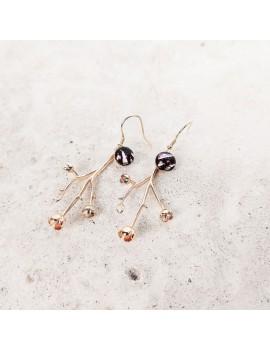 Boucles d'oreilles Magnolia 'Bambou Rosé' en or